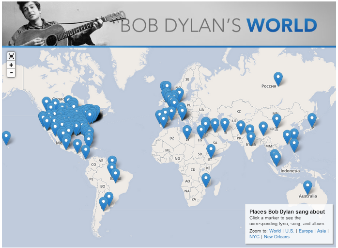 Places mentioned in songs of Bob Dylan - from Slate.com